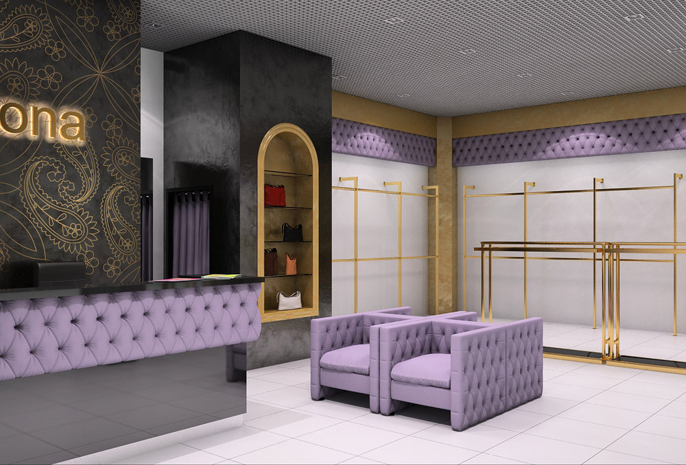 Interior design project of brand clothing boutique.