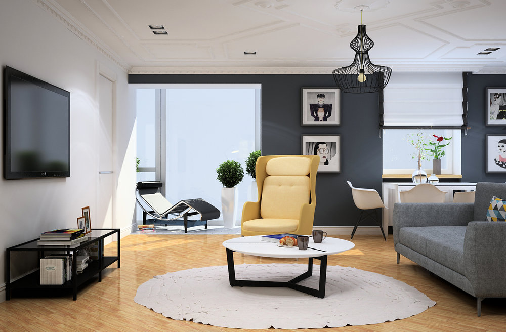 Design of living room in a modern style.