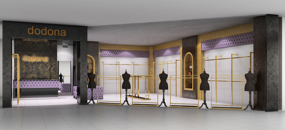 Interior design project of luxury clothing store.