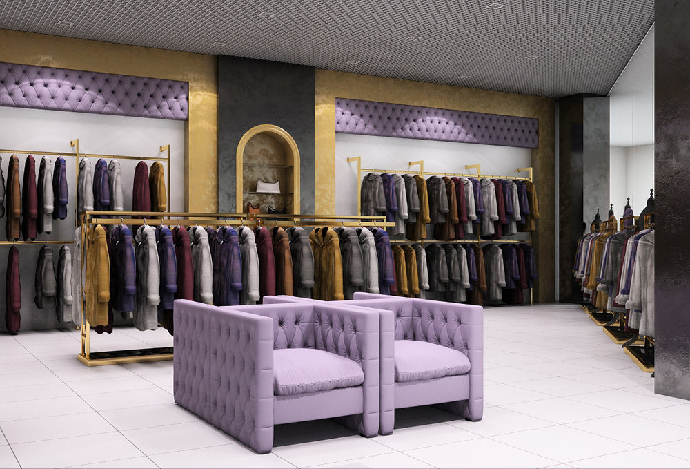 Gold and purple color in interior design of the store.