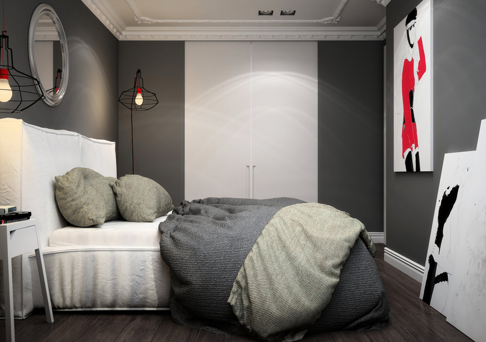 Interior design of bedroom.