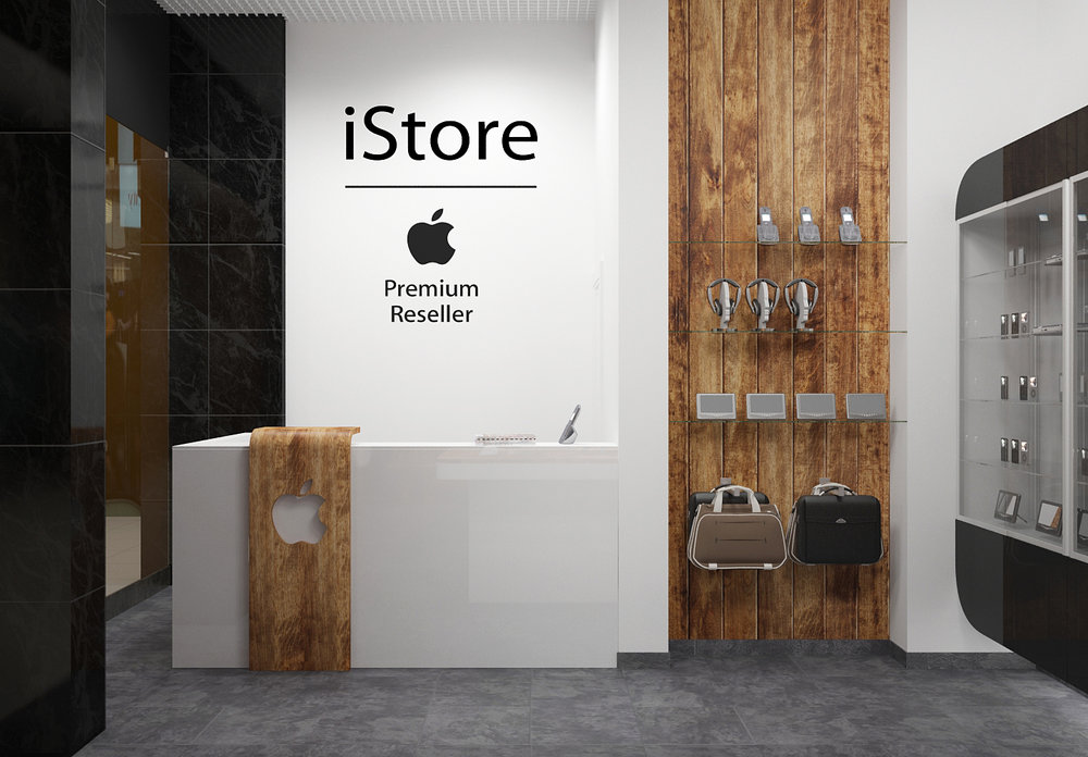 Interior design project of corporate store equipment.