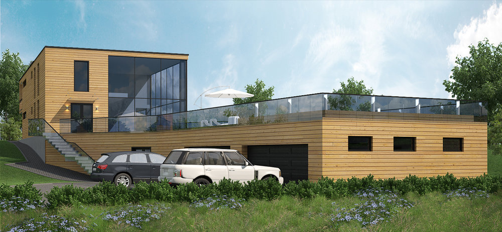 Modern house from thermo wood.