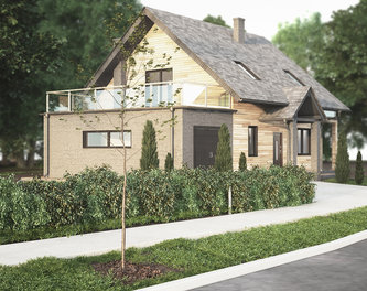 House design with thermal wood siding, Lodz (Poland)