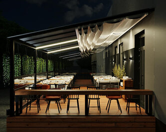 Terrace design for a pizzeria