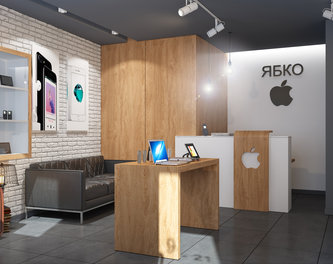 Design of Apple technics store YABKO (Lviv)