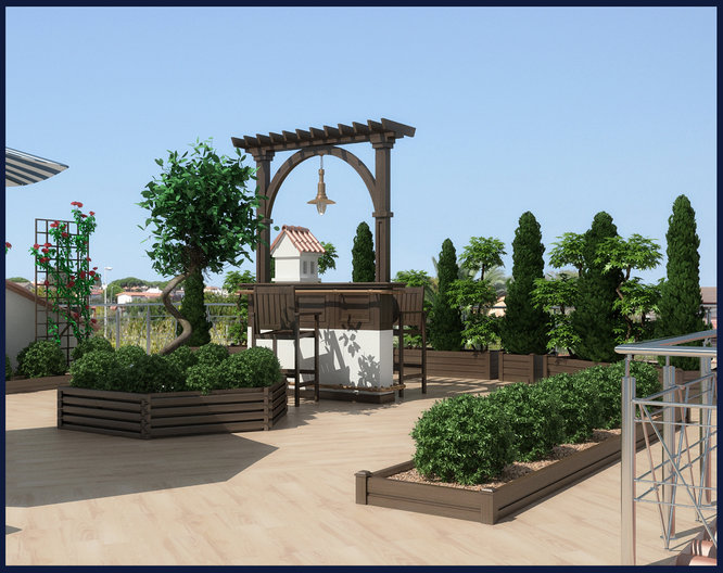 Landscape design project on the roof of the house in Rome