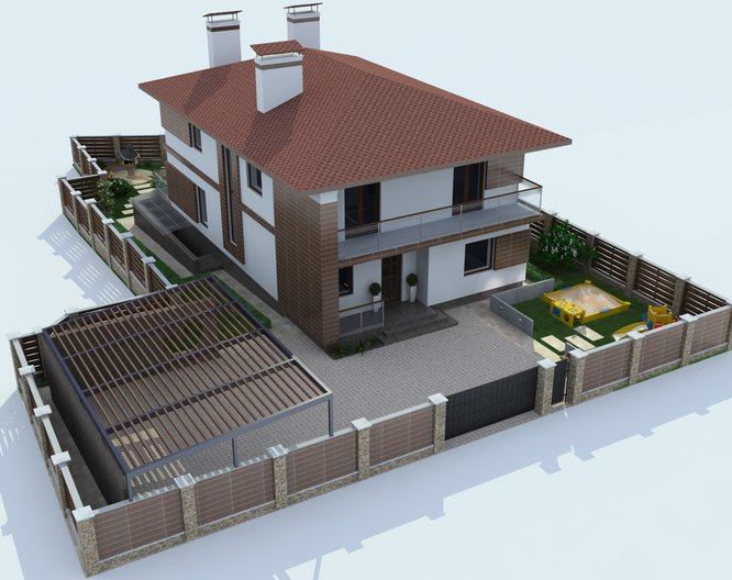 House facade design on a narrow plot in modern style